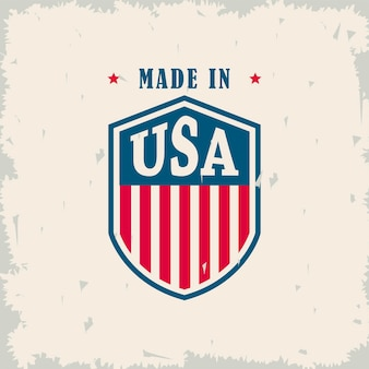 Usa word in shield