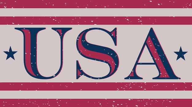 Usa word in vintage style