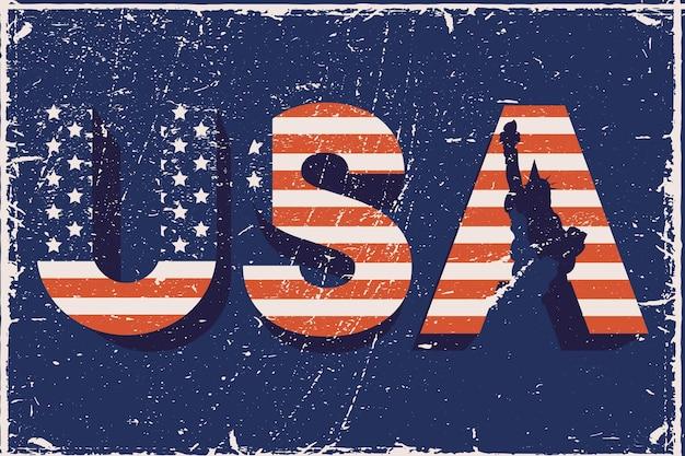Usa word with flag