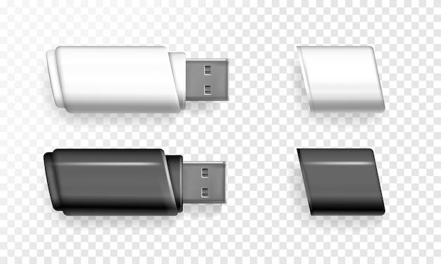 Usbフラッシュドライブ3d現実的なメモリスティックのイラスト。
