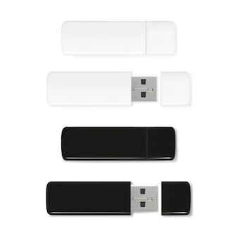 Usbフラッシュドライブ3d現実的なメモリスティックのイラスト。黒と白のプラスチックモックアップ
