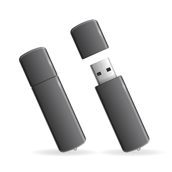 Usb 플래시 드라이브 검정 흰색 배경에 고립입니다.