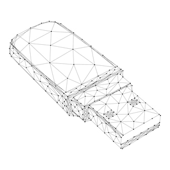 Usb flash drive from abstract futuristic polygonal black lines and dots