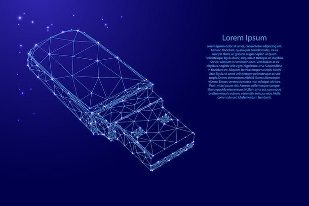 未来的な多角形の青い線と輝く星テンプレートからのusbフラッシュドライブ