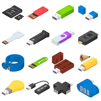 Usb flash drive icons set