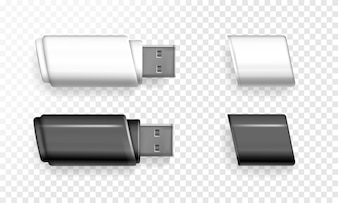 USB flash drive illustration of 3D realistic memory stick.