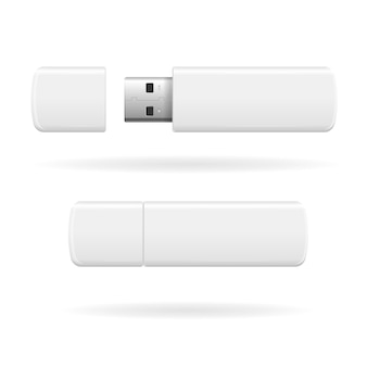 Usb flash drive white and empty.