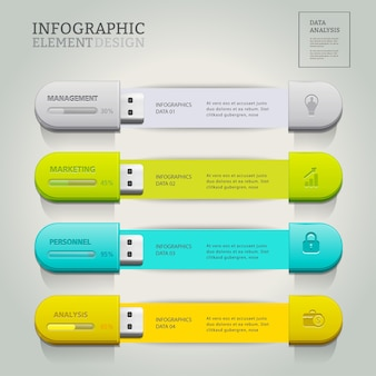 USB for information business infographic.