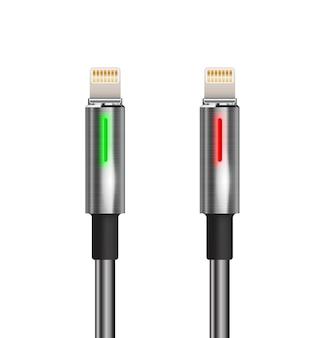 Usbのライトニングコードは、緑の赤い光を絶縁