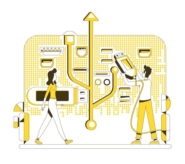 Usb memory stick thin line concept illustration