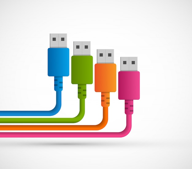 Usb plugs with cord on white background.