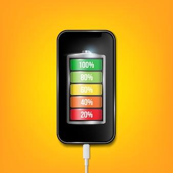 充電されたバッテリーフォン、携帯電話のusbプラグケーブル。