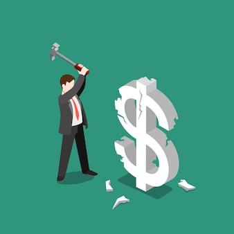 Курс доллара сша падает, сбой, тормоз, плоский, изометрический