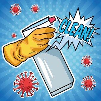 Используйте дезинфицирующее средство для защиты от брызг covid19