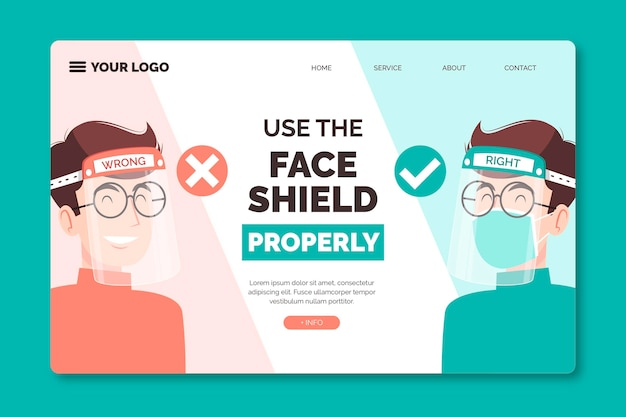 Use face shield and mask landing page template