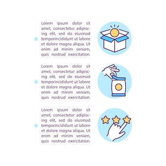 Use of goods and services concept line icons with text