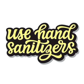 Используйте текстовые надписи с дезинфицирующими средствами для рук