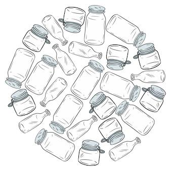 プラスチック製のガラス瓶のボールを少なくする。やる気を起こさせるイメージ。生態学的およびゼロ廃棄物グリーンに行く