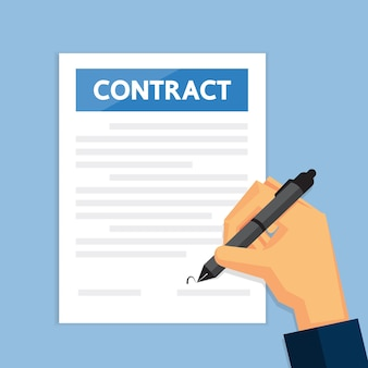 Use pen to sign contract documents.