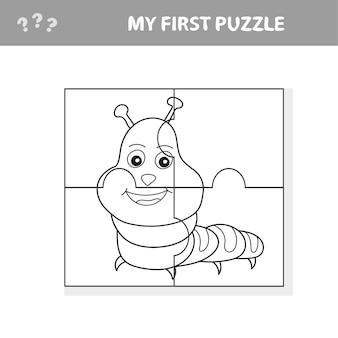 퍼즐을 사용하고 그림을 복원하십시오. 아이들을 위한 종이 게임. 쉬운 수준. 나의 첫 번째 퍼즐과 색칠공부