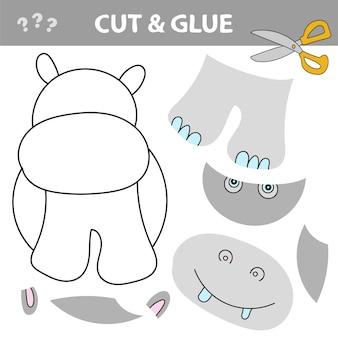 가위와 풀을 사용하여 윤곽 내부의 그림을 복원하십시오. 아이들을 위한 쉬운 교육용 종이 게임. hippo와 함께하는 간단한 어린이 응용 프로그램