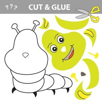 С помощью ножниц и клея восстановите рисунок внутри контура. бумажная игра для детей. легкий уровень. простое детское приложение с зеленой гусеницей