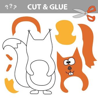 Use scissors and glue and restore the picture inside the contour. easy educational paper game for kids. simple kid application with red squirrel