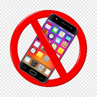 Not use smartphone sign on transparent background