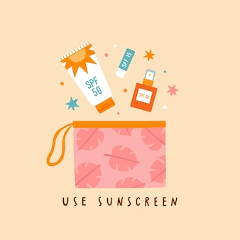 Use sunscreen. sun protection routine lotion lip balm and cream illustration