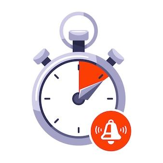 ストップウォッチの制限時間を使い果たします。時計の停止信号。白い背景で隔離の平らなイラスト。