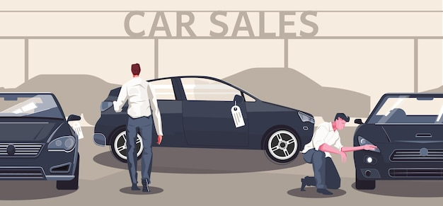 Used car market flat composition of editable text automobile silhouettes and different models with buyer characters illustration