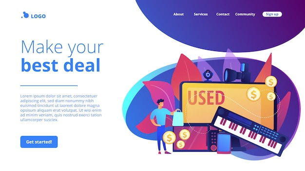Used electronics trading concept landing page.