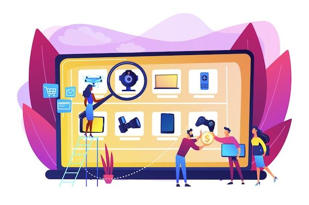 Sito web del negozio internet di elettronica usata e rinnovata mercato delle pulci online, marketing delle pulci, operazioni del mercato delle pulci online, arricchimento del concetto online. illustrazione isolata viola vibrante brillante