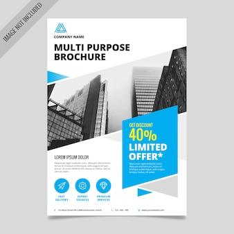 Useful brochure with blue geometric shapes