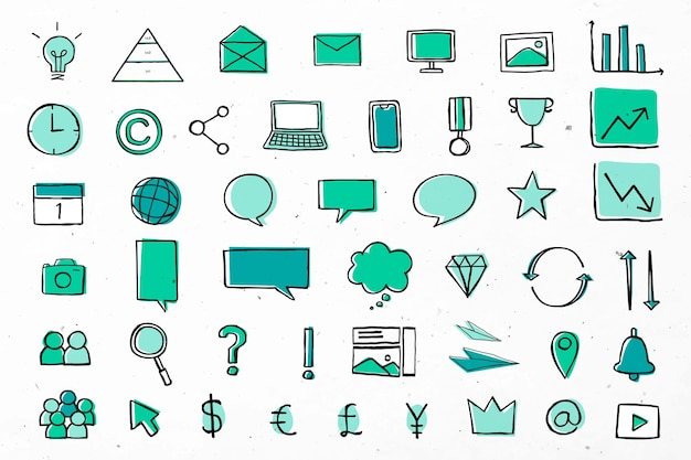 Полезные бизнес-иконки для маркетинговой зеленой коллекции