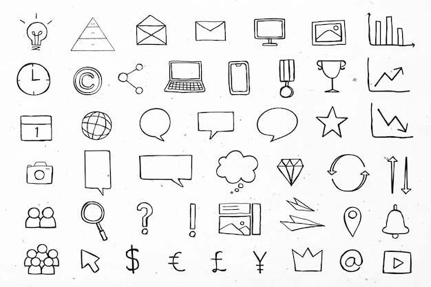 Useful business icons for marketing black collection