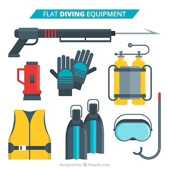 Useful diving elements in flat design