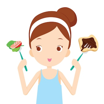 Useful and useless food, choices for girl choosing to eat
