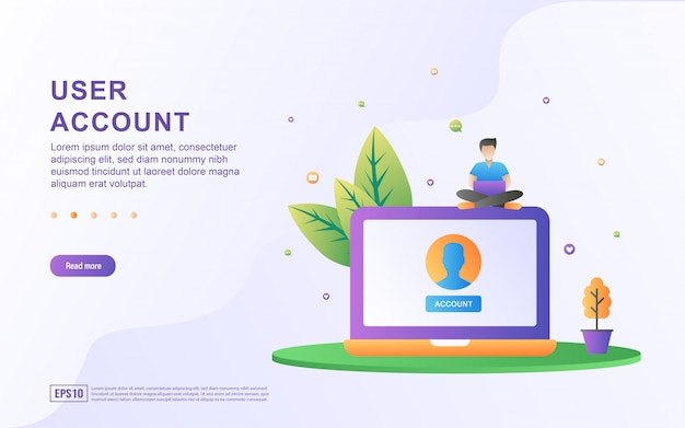 User account flat design concept. people are creating account access. user account to enter the website.