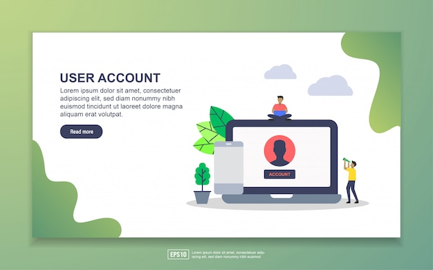 User account with tiny people character landing