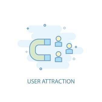 ユーザーアトラクションラインのコンセプト。シンプルな線のアイコン、色付きのイラスト。ユーザーアトラクションシンボルフラットデザイン。 ui / uxに使用できます
