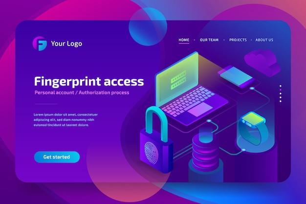 Форма авторизации пользователя, обработка персональных данных. доступ по отпечатку пальца, концепция безопасности бизнеса, изометрическая иллюстрация на ультрафиолетовом фоне