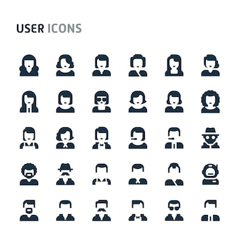 User and avatar icon set. fillio black icon series.