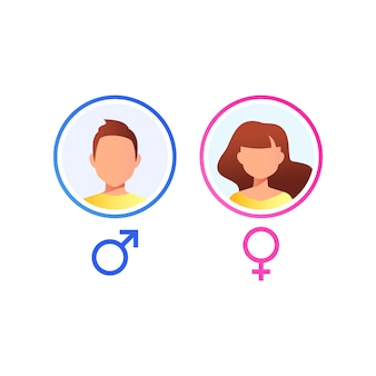 User avatar. male and female face  isolated on white background. vector icon.