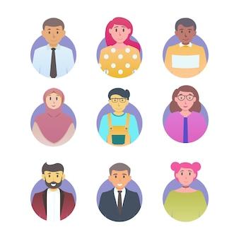 ユーザーアバターセットフラットカラースタイル異なる国籍の男性と女性の文字ベクトルイラスト