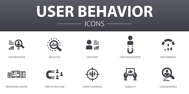 User behavior simple concept icons set. contains such icons as analytics, user data, performance, usability and more, can be used for web, logo, ui/ux