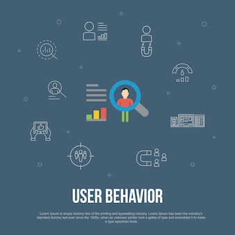 User behavior trendy ui flat concept with simple line icons. contains such elements as analytics, user data, performance, usability and more