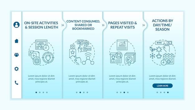 Шаблон вектора адаптации для анализа поведения пользователей. адаптивный мобильный сайт с иконками. веб-страница прохождение 4-х шаговых экранов. цветовая концепция цифрового маркетинга с линейными иллюстрациями