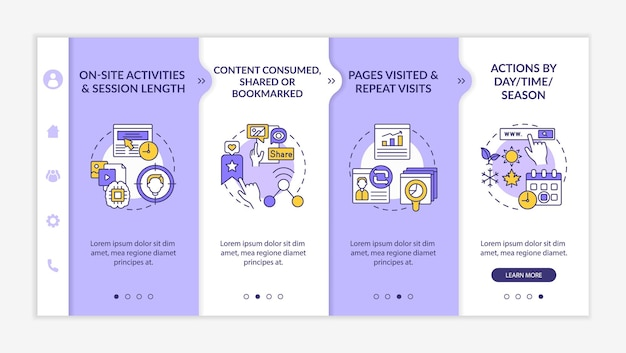User behaviour analytics onboarding vector template. responsive mobile website with icons. web page walkthrough 4 step screens. digital marketing color concept with linear illustrations