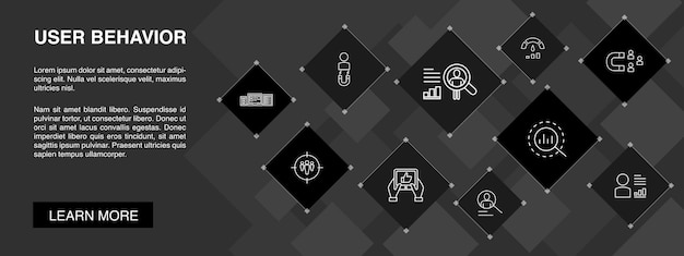 User behaviour  banner 10 icons concept.analytics, user data, performance, usability simple icons